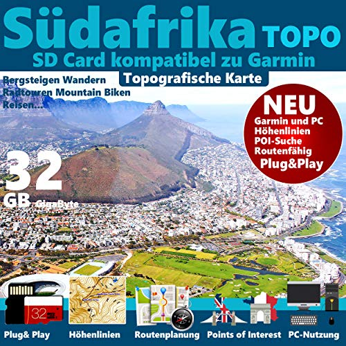 ★ Südafrika South Africa Garmin Karte Outdoor Topo GPS Karte GB microSD Card für Garmin Navi, PC & MAC für Garmin Navigationsgeräte Navigationssoftware ★ ORIGINAL von STILTEC ©