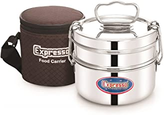 Expresso Stainless Steel Food Carrier 2 Tier 4 inch Small Container Roller Lock Lunch Box w/Insulated Carry Bag, Silver
