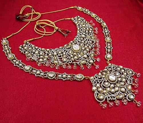 Banithani Concepteur Ton Or Collier De Mariée Bollywood Ethnique Définir Des Ensembles De Bijoux De Mariage blanc-3