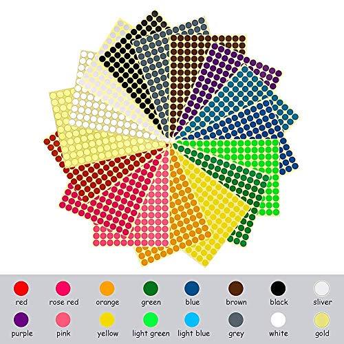 Rmeet etichette adesive colorate,10mm etichette autoadesive rotonde 16 colori/fogli autoadesive bollini dot 2475 pezzi per calendari ufficio manuale