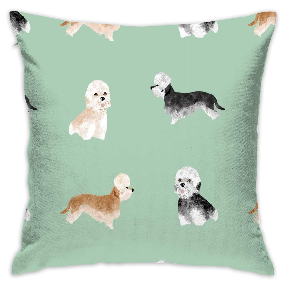 Mabell Beautifully decorated home Dandie Dinmont Terrier – Dandie Dinmont Dog, Cute Dog, Dog Breed, Dog Breed Wallpaper, Dandie Dinmont Gift Wrap – Green Throw Pillow Case 18X18 Inches
