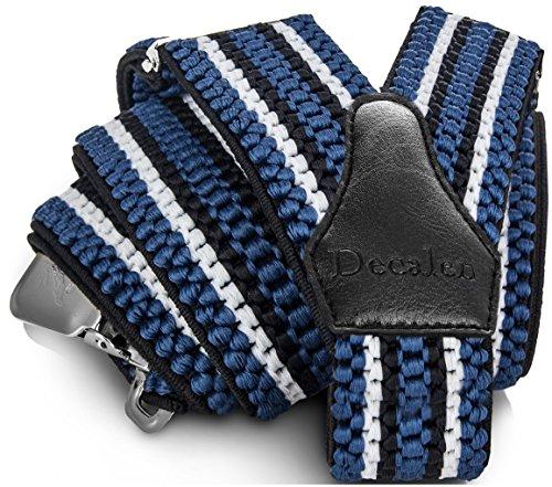 Decalen Hosenträger für Herren breit extra starken 4 cm mit 3er Clips Y Form Lang für Männer und Damen Eine Größe Passt Alle Verschiedenen Farben (Blau Weiß Schwarz)