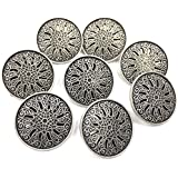 Designer Buttons Metal Button - Pack of 6, Black