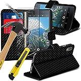 Klappetui für Blackberry DTEK50,mit Kartenschlitz und Displayschutz aus gehärtetem Glas,Karbonfaser, PU-Leder, von FONETIC Solutions schwarz Carbon Case + Glass (Black )