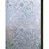 Zindoo 3D Blumen Tulpe Fensterfolie Sichtschutzfolie Ohne Kleber Dekorfolie für Heim Kueche, Umkleide und Konferenzräume 44.5 x 200CM