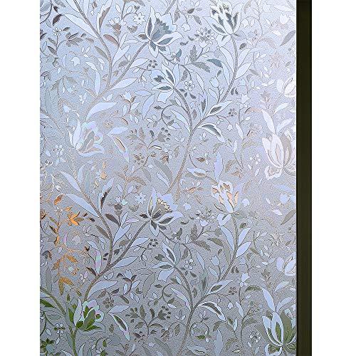 Fensterfolie 3D Dekofolie Sichtschutzfolie Zindoo Blumen Tulpe Ohne Kleber Dekorfolie Statisch Folie für Heim Kueche, Umkleide und Konferenzräume 44.5 x 200CM