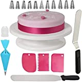 C&G INDIA Cake Combo of Cake Making Turn Table 7 inch Stainless Steel Spatula, 12 Piece of Cake Decoration nozzles with Icing