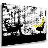 'Banksy' stampa su tela - quadro 100 x 70 cm teren! Stampa già montata sul telaio! Pop Art quadro Kunstdrucke, tele, immagini per decorazione - decorazione/Top 200 'Banksy' Modern immagini