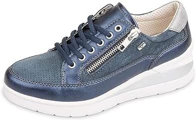 Valleverde 17150 Sneakers Donna Pelle SINT/Suede Blu Oceano Zeppa 5,5