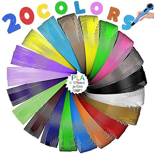 3D Stift Filament, 20 Farben je 10M,200M/656FT,1,75mm PLA Filament für 3D Drucker Stift Kinder