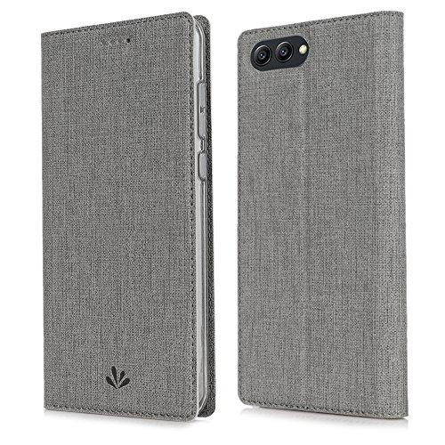 Feitenn Honor View 10 Hülle, dünne Premium PU Leder Flip Handy Schutzhülle | TPU-Stoßstange, Magnetverschluss, Kartenschlitz und Standfunktion Brieftasche Etui (Grau)