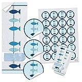 SET 25 + 24 blau türkis weiß 3 FISCHE Aufkleber - Symbol Taufe Kommunion Hochzeit - maritim Geschenk-Sticker Tischkarten Einladungs-Karten basteln selbermachen Verpackung