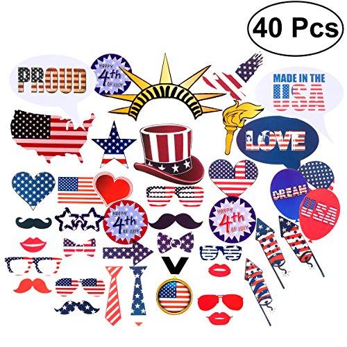 LUOEM 4. Juli Photo Booth Props Memorial Day Photo Booth Requisiten Patriotische Party Requisiten für amerikanische Unabhängigkeitstag Party Dekorationen - 40 Pack