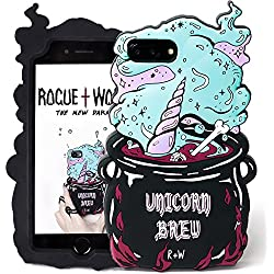 Rogue + Wolf Cute Unicorn Brew iPhone 6+ 6s+ 7+ 8+ Funda para niñas Funda de teléfono de Silicona Kawaii Funda Protectora de Apple iPhone7 Plus iPhone8 +