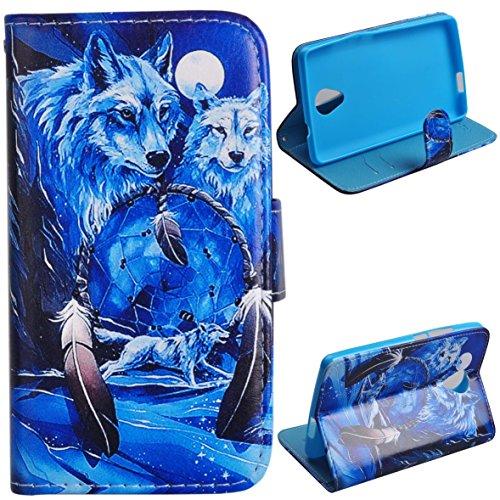 Voguecase® für Wiko Robby hülle, Kunstleder Tasche PU Schutzhülle Tasche Leder Brieftasche Hülle Case Cover (Weiß Wolf) + Gratis Universal Eingabestift