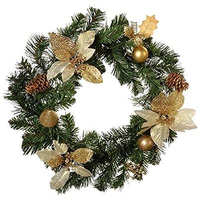 Cream/ Gold Ready Decorated Christmas Wreath 45 cm