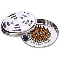 Confezione da 2 supporti per zanzare portatili in acciaio inox, per incenso, legna di sandalo, con coperchio