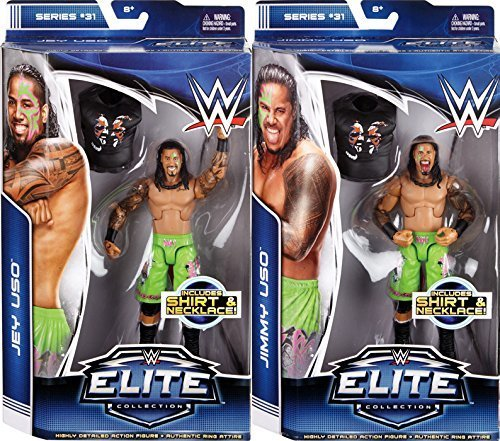 WWE, Elite Series 31 Action Figures, Jimmy Uso and Jey Uso Bundle Set of 2 by WWE