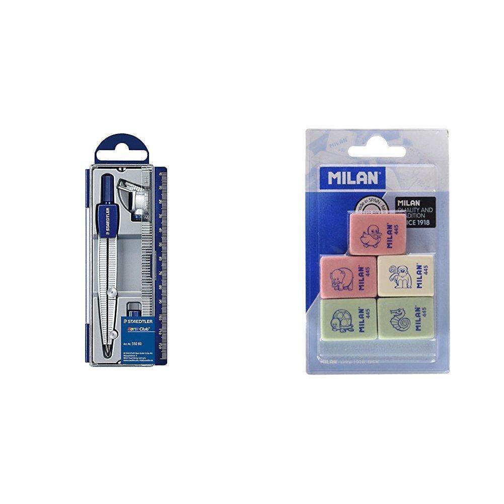 Staedtler – Set de dibujo: estuche, compás escolar, adaptador y tubo de minas + Milan BMM9222 – Pack de 5 gomas de borrar
