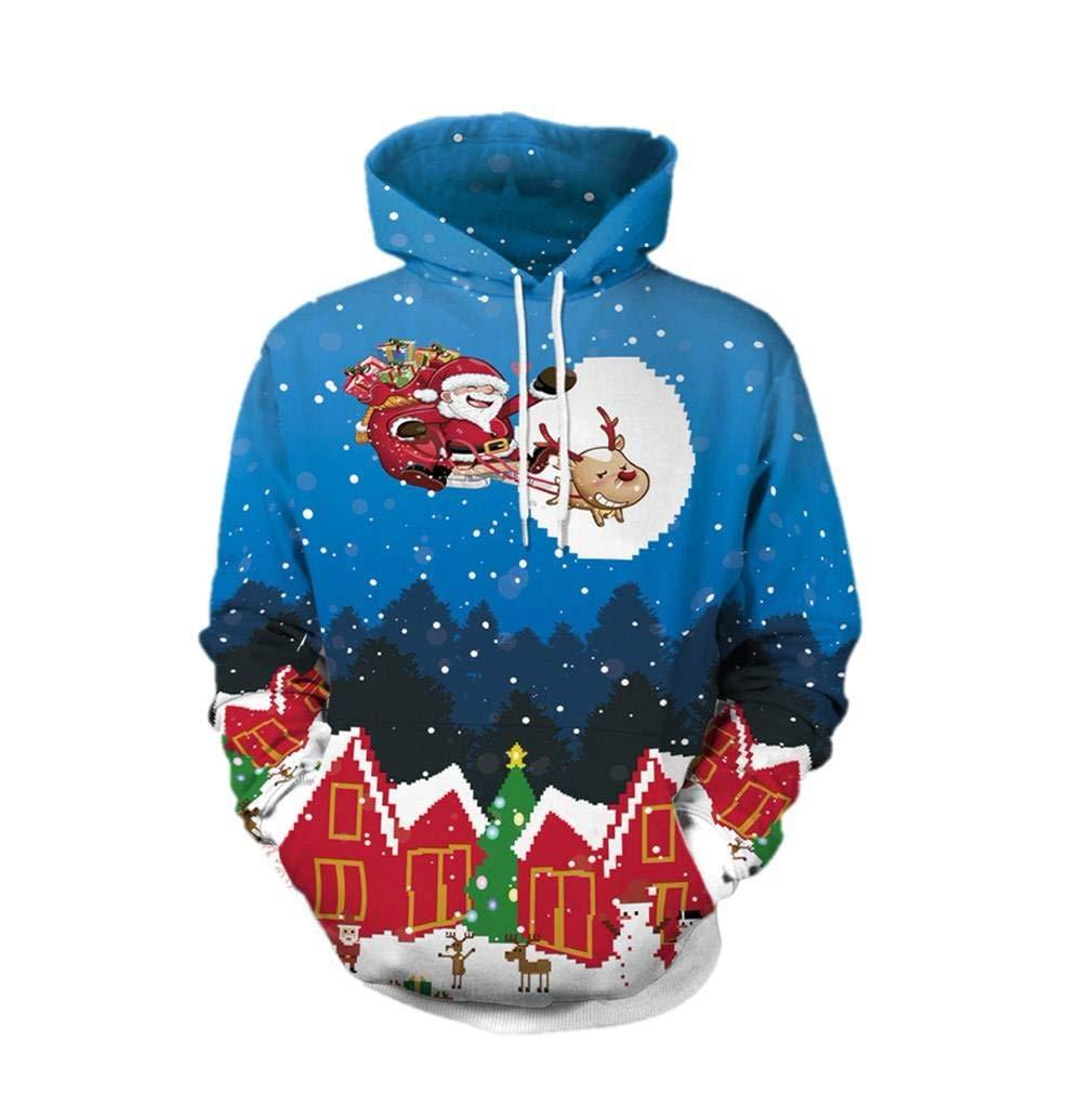Batnott Weihnachten Frauen Männer 3D Drucken Langarm Drucken Täglich Freizeit Hoodie Sweatshirt Pullover Top Herren Herbst Winter Pulli Shirt Geschenk für Männer Paar Christmas