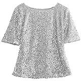 Damen kurze Ärmel Pailletten verziert Sparkle Hemden Tuniken (EU 40, Silber)