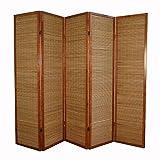 Homestyle4u 5 fach Paravent Raumteiler - Holz Trennwand Shoji mit