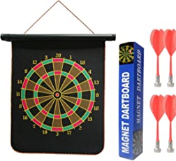 Vibgyor Vibes Double Faced Portable, Foldable High Quality Magnetic Dart Game with 4 Colourful Non Pointed Darts