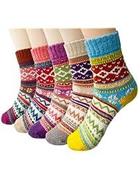 Justay 5 Paar Winter Wolle Damen Socken, Bunte Gemusterte Stricksocken MEHEWEG