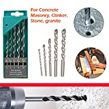 #6: DeoDap Masonry Drill Bit Set - 5 Pcs for Concrete and Brick Wall Drilling