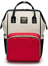 VISMIINTREND Multi-Function Waterproof Travel Baby Diaper Backpack ( Large, Red and White)