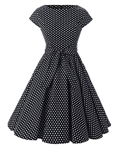 SaiDeng Femmes Vintage Col Rond Points Polka Blanc Robe De Rockabilly Comme Image
