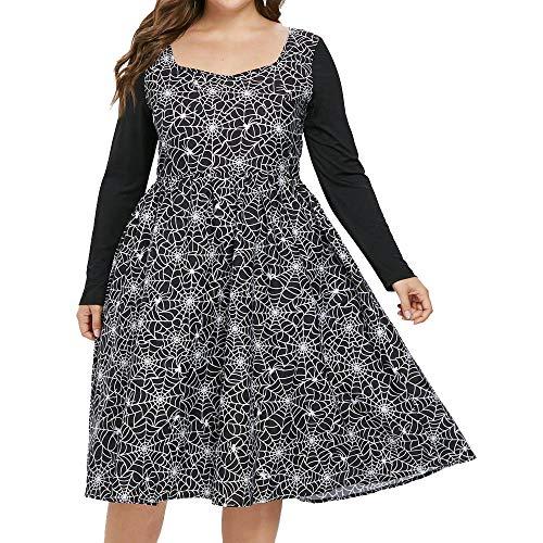 Veyikdg - Vestito da Donna a Maniche Lunghe, per Halloween, Stile Vintage Anni '50, con Stampa a Ragnatela e Cerniera a metà Polpaccio Nero XXXXXL