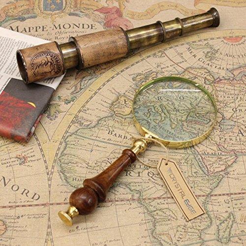 Lupe in Antikoptik aus Messing, mit Holzgriff, 10cm
