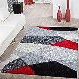 T&T Design Moderner Hochflor Teppich Shaggy Vigo Gemustert in Schwarz Grau Weiß Rot Top Preis!!, Größe:120x170 cm