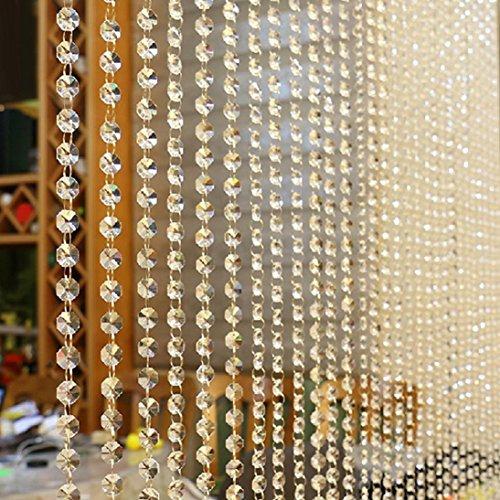 Cortina de cuentas de cristal igemy lujo salón o dormitorio ventana p