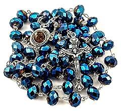 Idea Regalo - Rosario cattolico profondo blu 10mm perline Collana rosario Medaglia e croce del suolo
