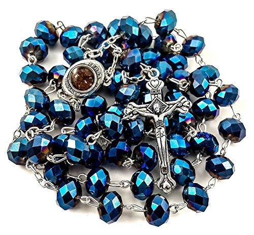 Nazareth Store Deep Color Azul Collar de Cuentas de Cristal Rosario católico Suelo Santo Medalla y crucifijo