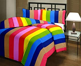 GINI Home Striped Rainbow Colorful Reversible Poly Cotton AC Dohar/Comfort/Blanket/Quilt