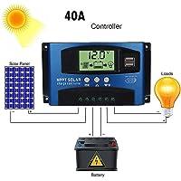 Contrôleur de charge solaire, contrôleur solaire MTTP Auto Focus Suivi de la batterie Panneau solaire, fonction SOC, écran LCD et port USB
