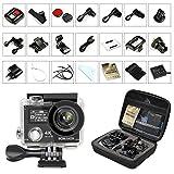 Action Cam 4K, GooBang Doo HD WIFI 60fps Sport con Custodia Impermeabile Anti-scuotimento con Telecomando Remoto 2.4G, Grandangolo da 170° Full HD con molti accessori (Black) immagine