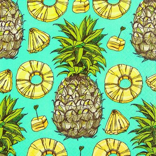 20 Servietten Sweet Pineapples - Süße Ananas / Früchte / Obst / Hawaii 33x33cm