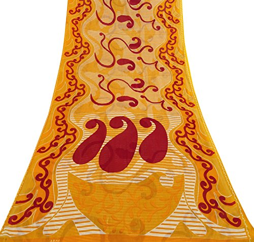 Dress Making Cotton Silk Indian Vintage Saree Paisley Printed Used Yellow Sari Paisley Printed Silk Dress