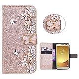 Xifanzi Glitter Wallet Case for Galaxy J3 (2017) Gold