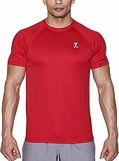 Azani Men's Sub-Zero Tech Short Sleeve Workout Fitness Sports Gym Wear Crimson Red T-Shirt