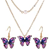 Yellow Chimes Fashion Gold Plated Pearl Butterfly Design Pendant set Earrings for Women and Girls