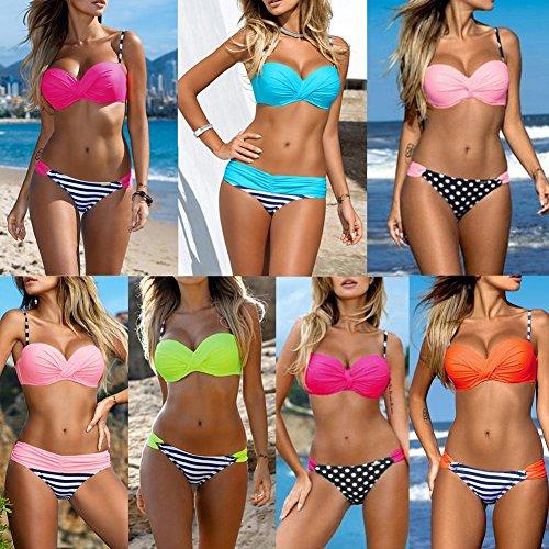 Damen Bikini Set Romacci Damen Bikini Set Bügel Push Up Striped Badebekleidung Zweiteilige Strand Badeanzug Pink 2