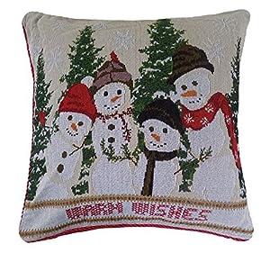 "Snowmen Christmas Tapestry Cushion Cover 18"" - 45cm"