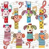 Acekid Foot Rattle para bebé, 8pcs Cute Velvet Animal muñeca sonajeros y Juego de buscador de pies, muñecas de Juguetes de Desarrollo para bebés