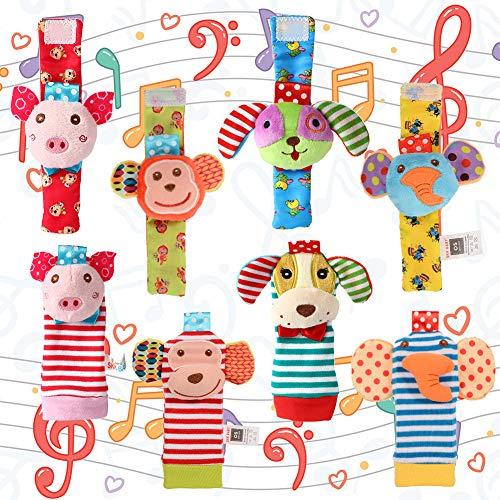Acekid Foot Rattle para bebé, 8pcs Cute Velvet Animal muñeca sonajeros y Juego de buscador de pies...