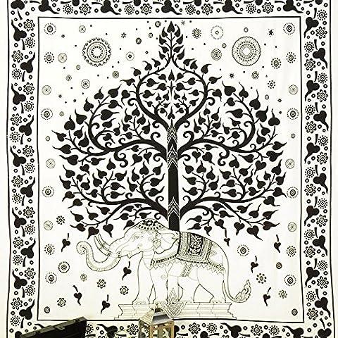 EYES of INDIA - DOBLE BLANCO HIPPIE INDIO MANDALA ELEFANTE árbol de la vida COLCHA TAPIZ Playa